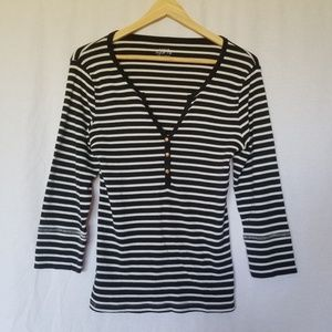 J. Crew perfect tee striped 3/4 sleeve top size M
